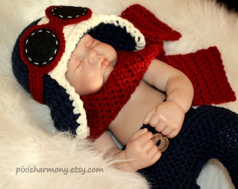 Newborn Baby Boy or Girl Aviator Hat w Goggles Scarf and Long Pants- Fly - Airplane Hat - Photo Prop - Blue or ANY Colors - Reborn