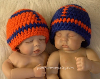 Twin Baby Boy Football Team BEANIES - ANY COLORS - Newborn - Reborn Doll