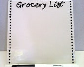 Ceramic Tile Dry Erase Message Board - Grocery List- With Stand and Dry Erase Marker - Made to Order