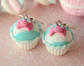 Shabby chic pastel sky blue/white stripes and vanilla cupcake earrings
