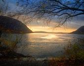 Sunset Over the Hudson River - Original Photograph - Outdoors Nature New York Spring Nautical Coastal Blue Grey