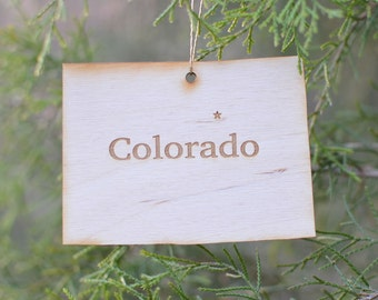 Natural Wood Colorado State Ornament