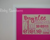 New Baby Gift Birth Announcement Pink Canvas Birth Statistics Wall Hanging Subway Art Typography 8 X 10 FREE SHIPPING