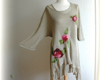 LINEN Knitted Tunic Dress Asymmetrical Grey With Flower Appliques Unique Fiber Art Eco Friendly Clothing Natural