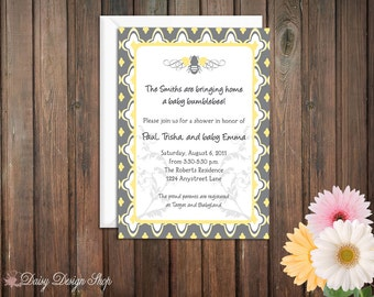 Baby Shower Invitation - Bumblebee in Gray and Yellow