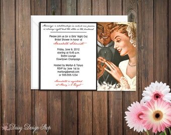 Bridal Shower Invitation - Retro Vintage Bride and Groom