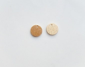 2pcs Gold Vermeil  brushed round charm ( 8mm),  brushed circle, gold plated over sterling silver disk