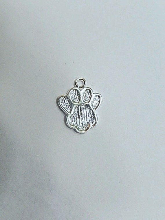 Silver Paw Cavachons: Sterling Silver Paw Charm 14x11mmm .925 Sterling Silver