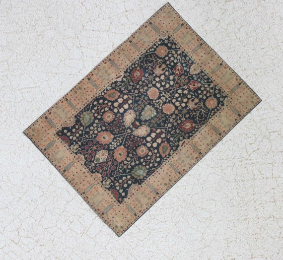 Dollhouse Miniature Turkish Rug In Midnight And Gold One
