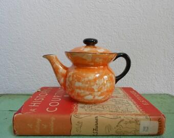 Vintage Orange and Black Mottled Lustreware Czechoslovakian Teapot