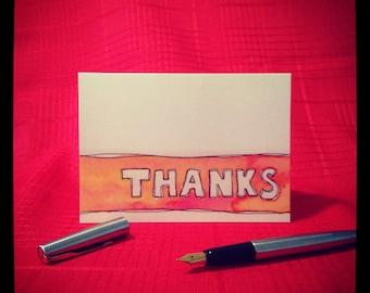 THANKS watercolour stripe Greeting Card - single