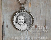 20% Off w/Coupon - Photo Necklace - Black and White Picture - Bezel Pendant with Chain - Picture Necklace