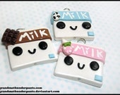 Cute Milk Necklace, Strawberry Milk, Chocolate Milk, Milk Cuties