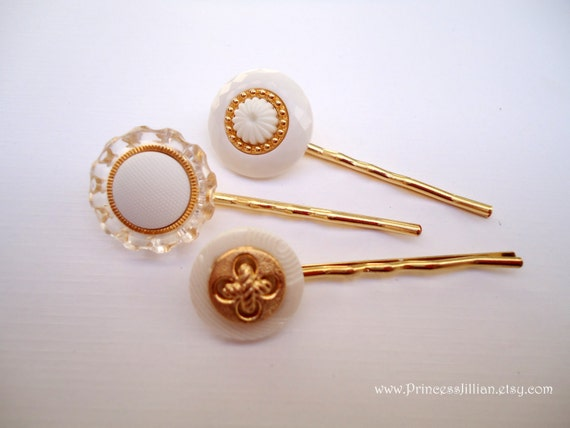 Vintage buttons hair slides - White gold trio upcycled hair accessories TREASURY ITEM