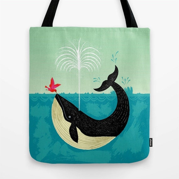 "The Bird and The Whale - Birds and Whales - modern Tote Bag / Book Bag - 16"" x 16"""