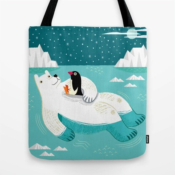 "Hitching A Ride - Tote Bag / Book Bag - 16"" x 16"""