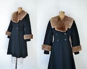 1940s Princess Coat / 40s Black Wool Coat Fur Collar