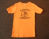 70s orange Luxembourg t-shirt 1970s Echternach Europe souvenir travel ringer T shirt size small medium