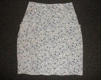 80s 90s white blue floral denim high waist pencil skirt size medium small 5