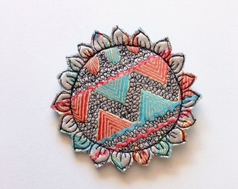 Geometric - sunflower - brooch - thread drawn - wearable art