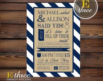 Printable Typography Wedding Shower Invitation - Navy, White, Beige Stripes - Couples Shower Invitation