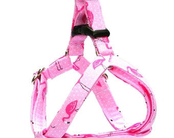 Step In Dog Harness - Tropical Fancy Pink Flamingos  - Mini Small Medium Large XL Dog Harness