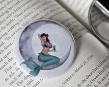 Pocket Mirror - Miss Mandolin Moon - mermaid pin-up crescent moon