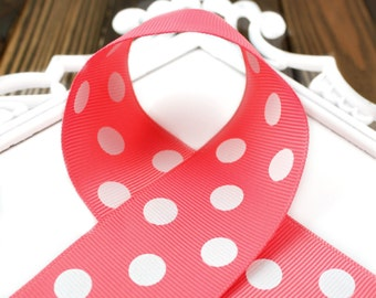 Coral Polka Dot 1-1/2 inch Grosgrain Ribbon - Choose 1-20 yards - Hairbow Supplies, Etc