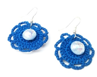 Crocheted Blue Flower Earrings with Shimmery Vintage Button