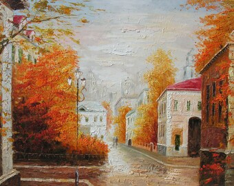Original Oil Painting Palette Knife Street Cityscape Town Foggy Rain Orange Home by Marchella