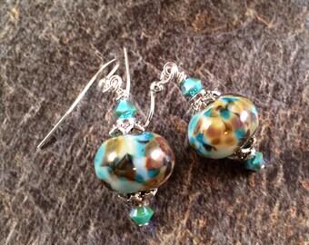 Lampwork Earrings, Boro Earrings, Blue and Brown Earrings, Beadwork Earrings, Glass Earrings, Lampwork Bead Earrings