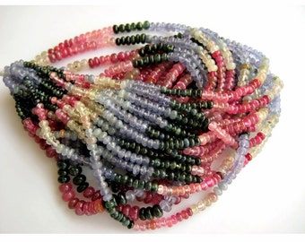 Multi Sapphire/ Sapphire Beads/ Tanzanite Beads/ Rondelle Beads/ 5mm To 3mm Beads/ 95 Pieces Approx/ 18 Inch Strand