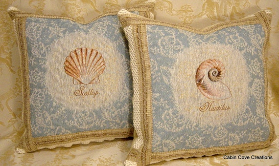 Seashell Coastal Throw Pillows 2 Cushions Nautical Beach Sky