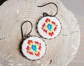 Ethnic earrings - boho earrings - hand embroidered - e029