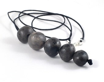 Ceramic Necklace Beaded Organic Smoky Black Jewelry in Handmade Felt Envelope