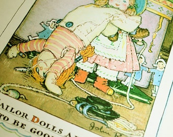 Sailor Dolls Are Acrobats Original 1928 Book Page for Framing Lucy Locket The Doll with the Pocket Color Collage Art