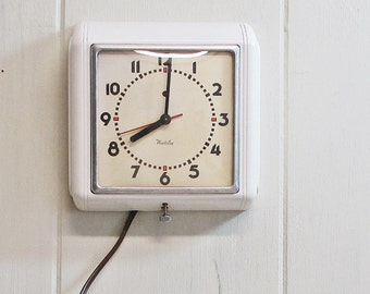 Wall Clock Electric Mid Century Westclox White