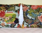 Pair of Schumacher Chiang Mai Dragon in Aquamarine Designer Pillow Covers