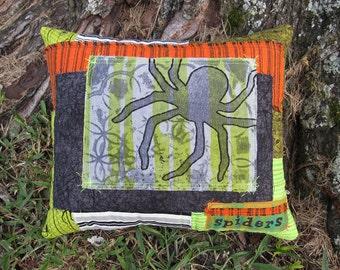 Spider Halloween Pillow, Web, Textile Art, Mixed Media Halloween, OOAK Original Design, Crazy Quilt, Hand Dyed Printed Fabric Cloth, HAFAIR