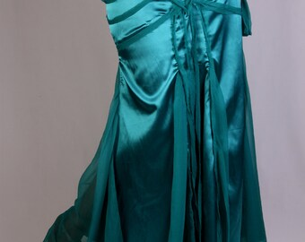 Salena long Skirt in teal blue satin and silk chiffon