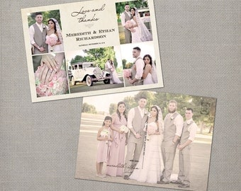 "Wedding Thank You Cards, Thank You Note Cards, Vintage cards, Thank you card, Vintage Wedding Thank You Card - the ""Meredith 2"""