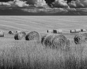 Straw Hay Bales in Black and White on a Summer Harvest Field in Montana with Clouds No.BW6250 A Fine Art Agricultural Landscape Photograph