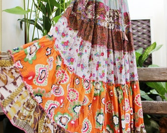 Ariel on Earth - Printed Cotton Long Tiered Skirt - OM01-0914