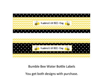 Bumble Bee Water Bottle Label - You Print
