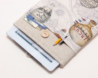 50% OFF SALE White Linen iPad Case with colorful hot air balloons print pocket. Padded Cover for iPad 1 2 3 4. iPad Sleeve Bag.
