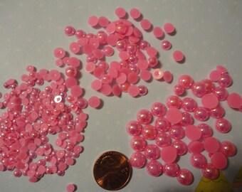 Sale--kawaii AB flatback pearl cherry pink mix  more than 200 pcs---USA seller