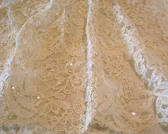 Ivory large Floral Motif French Alencon Lace Fabric with Beads and Sequins--One Yard