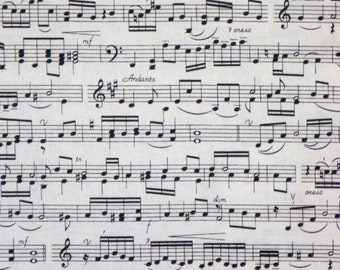 Black on Ivory Music Score Print Pure Cotton Fabric--BY the Yard