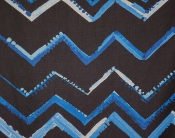 SPECIAL--Shades of Blue Modern Chevron Print Pure Cotton Fabric--One Yard