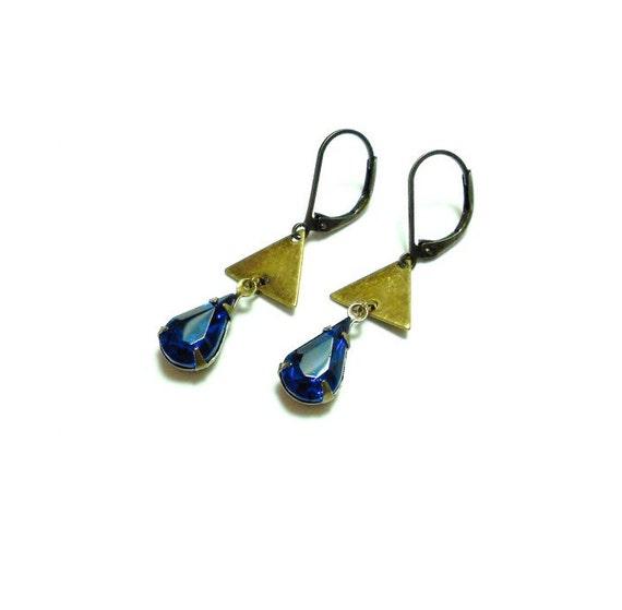 Art Deco Dangle Earrings - Triangle Earrings - Old Hollywood Vintage Capri Blue Earrings - Estate Jewelry - Retro Glam